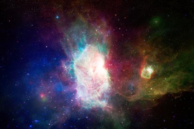 먼 은하의 별, 먼지 및 가스 성운. 혼란스러운 공간 배경. 제공된이 이미지의 요소