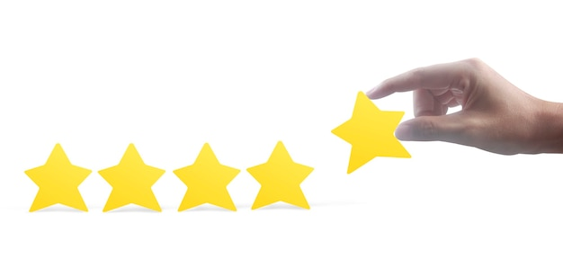 Stars in hand . increase rating evaluation and classification concept