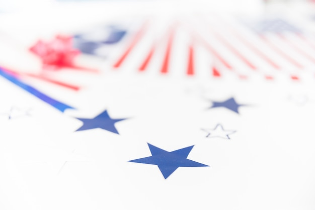 Stars and stripes on white background