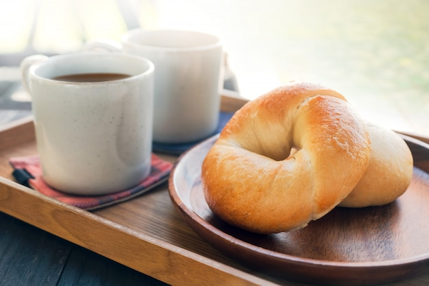 Start the day by fresh homemade bagel bread and hot coffee in the morning