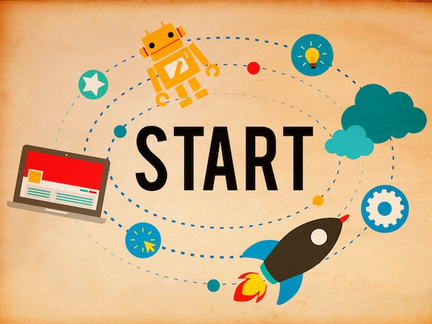 Inizio missione strategia di successo inizio concettoning