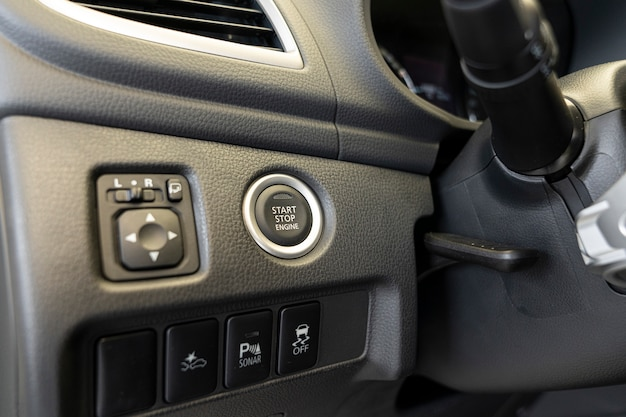 Start stop engine button in the car interior