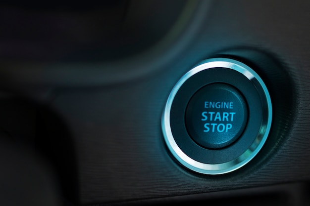 Start stop engine button in car