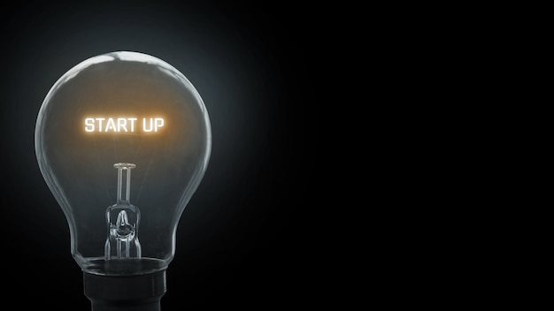Start up text in light bulb background