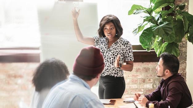 회의실에서 브레인스토밍하는 스타트업 비즈니스 팀