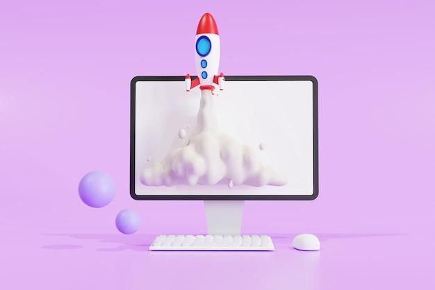 보라색 배경에 컴퓨터 노트북 화면에서 로켓이 날아가는 시작 개념. 정면도, 3d 일러스트레이션