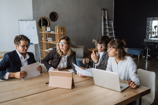 Startup diversity teamwork brainstorming meeting concept.