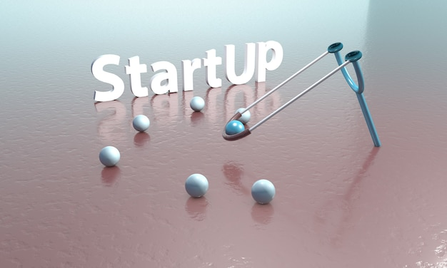 Startup lettering in d illustration with launch concept