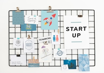 Startup postcard set on a rack