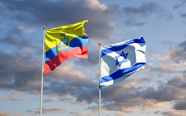 State flags of ecuador and israel together on sky background