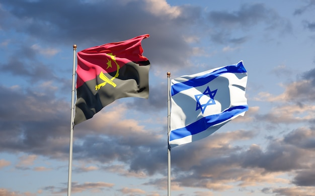 State flags of israel and angola together on sky background
