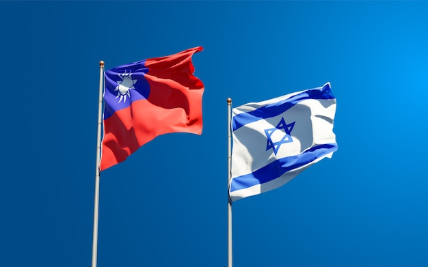 State flags of israel and taiwan together on  sky background