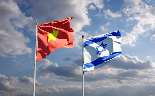 空の背景に一緒にベトナムとイスラエルの州旗