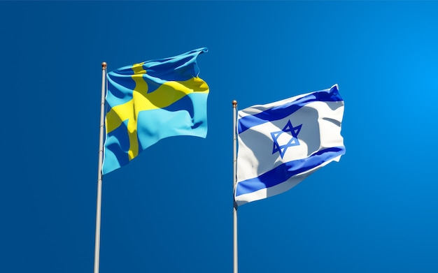 State flags of sweden and israel together on sky background