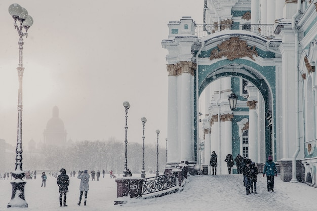State hermitage museum during winter weather, winter palace in saint petersburg