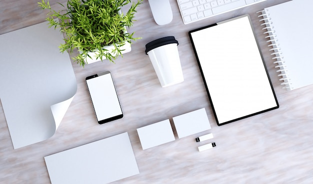 Stationary branding on marble desktop