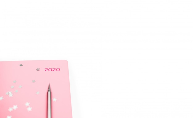 Stationary concept, flat lay top view photo of pencil and notepad on white background with copy space, minimal style.