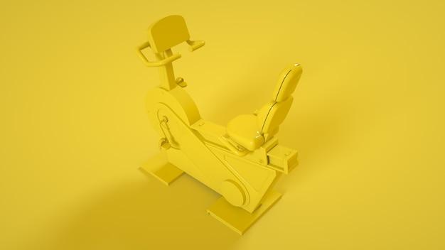 노란색 배경에 고정 피트니스 운동 자전거입니다. 3d 그림.