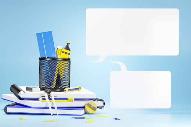 The stationary or office equipment in a blue Premium Photo