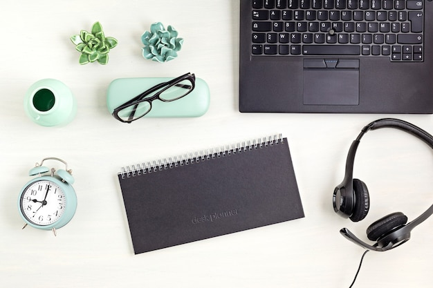 Stationary and office supplies, home office desktop organisation, online business, work from home concept