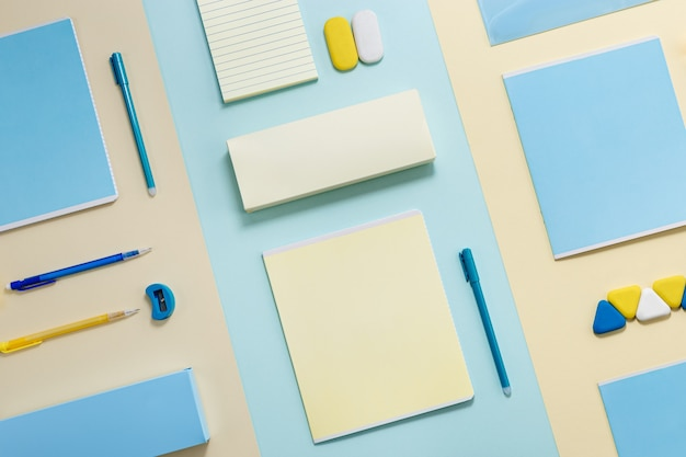 Stationary school supplies in yellow and blue tone office accessories
