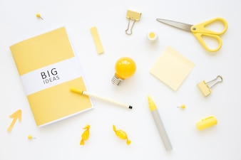 Stationeries, bulb, and candies with big ideas diary