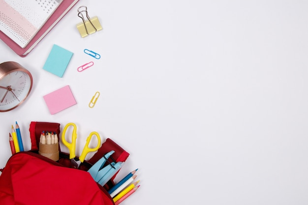 Stationeries and office supplies on white background