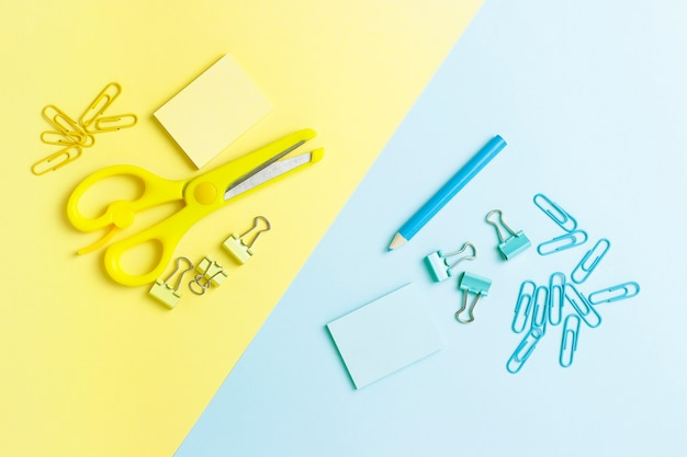 Stationery on blue and yellow
