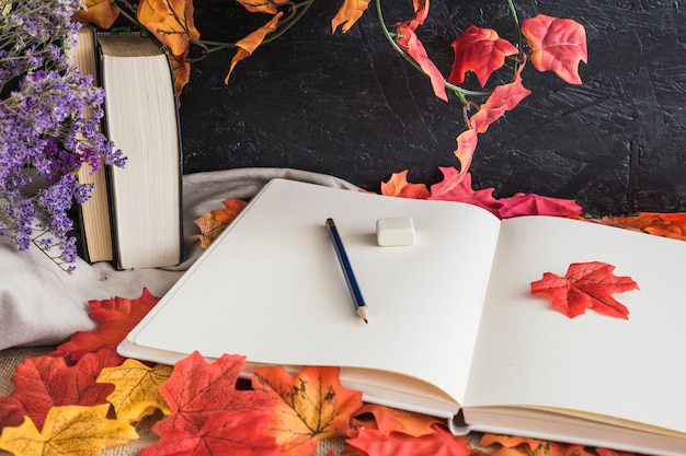 Stationery and books on leaves