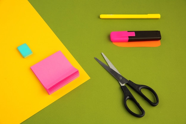 Stationery in bright pop colors with visual illusion effect modern art collection set for education