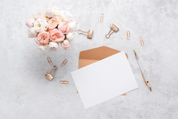 Stationery business flatlay creative composition.