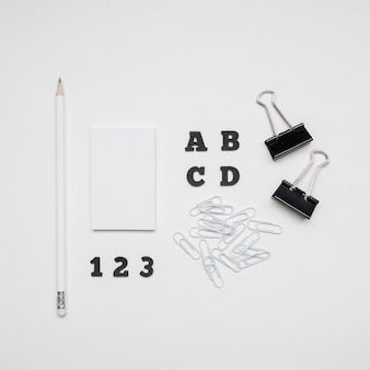 Stationery business visiting cards top view