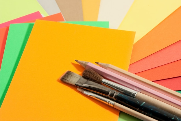 Stationery on colored papers