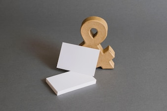 Stationery concept with business cards and ampersand