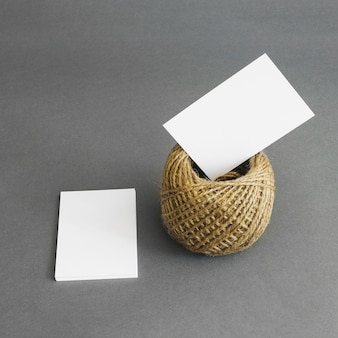 Stationery concept with business cards and rope