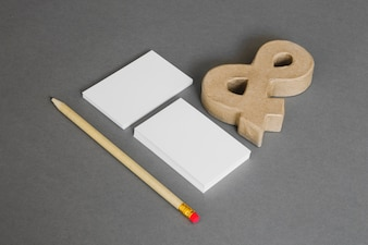 Stationery concept with pencil and ampersand