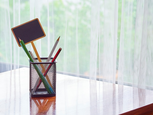 Stationery on the desk at home