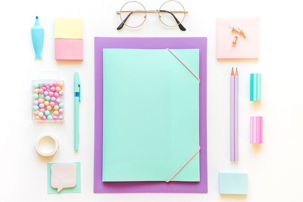 Stationery, girl set in pastel shades on white background.