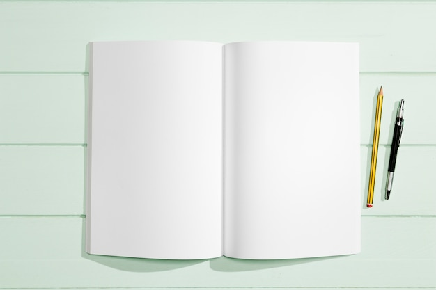 Stationery items and copy space white paper