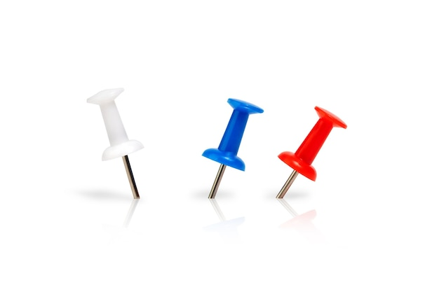 Stationery multicolored pins for notes isolate on a white background