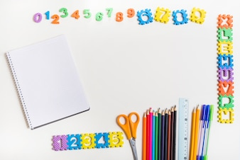 Stationery near letters and figures