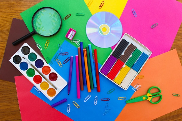 Stationery objects. school and office supplies