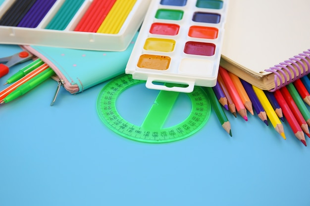 Stationery objects for school supplies