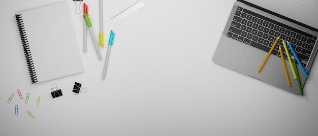 Канцелярские товары и ноутбук на белом столе, вид на 3d-рендеринг, 3d-иллюстрация