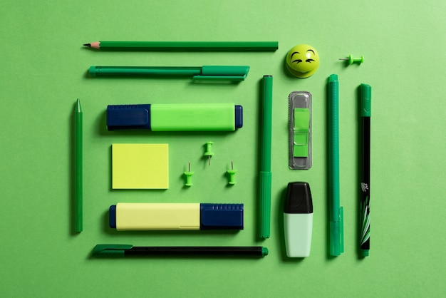 Stationery for school or office on a colored background. flat
