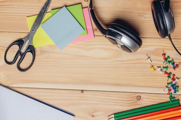Stationery for schoolchildren scissors markers work desk