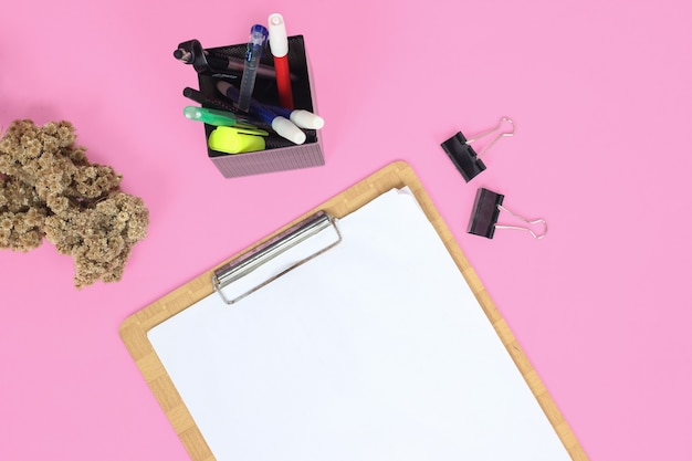 Stationery for study isolated on pink background
