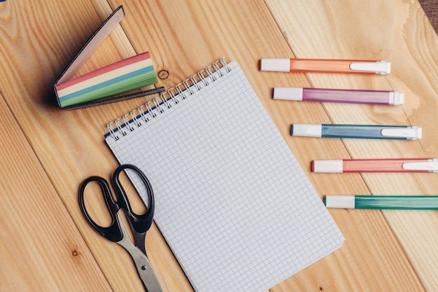 Stationery on the table. school supplies