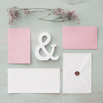 Stationery wedding concept with cards