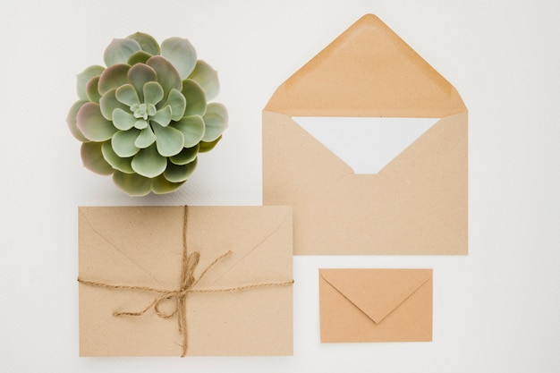Stationery wedding invitation concept in flat lay
